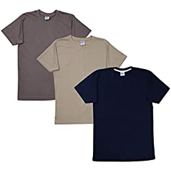 Fleximaa Men's Cotton Round Neck T-Shirts (Pack of 3) - Steel Grey, Navy Blue... (r-sgy-nb-bi-m)