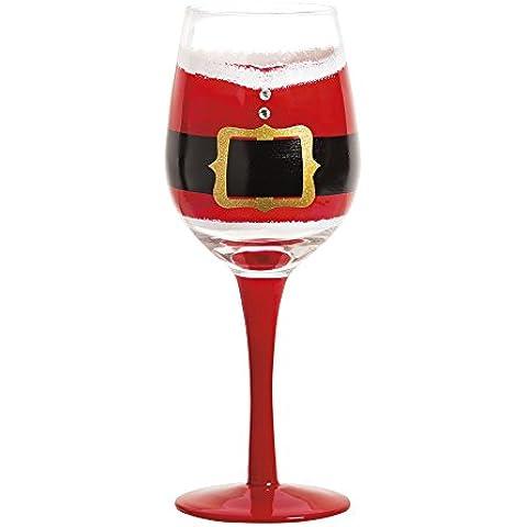 Dipinto a mano cintura di Babbo Natale personalizable vino vetro, 12once