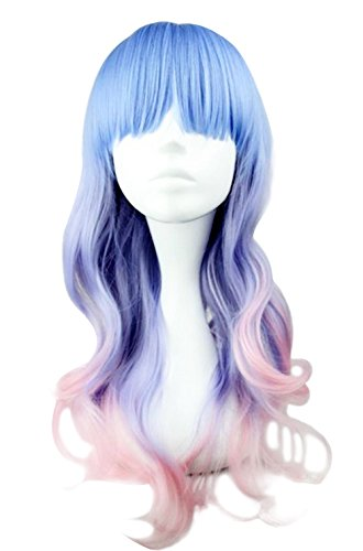Beauty Smooth Hair Frauen Lang Wellig Harajuku Style Cosplay Peruecke (Hellblau/ Helles Lila/ Pink) NW20-2