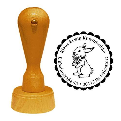 Stempel Adressstempel « HASE mit SCHLEIFE » Durchmesser ca. Ø 40 mm - mit persönlicher Adresse, Motiv und Zierrand - Tier Tiere Ostern Osterhase Osterfest