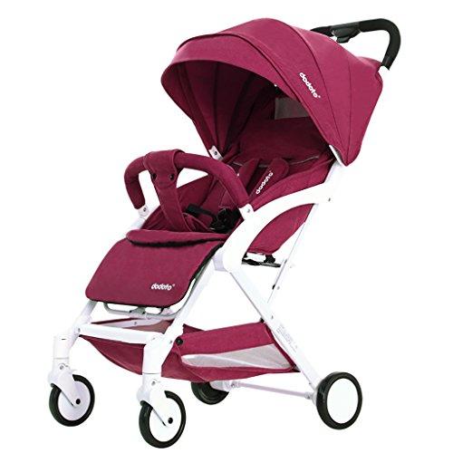 My-Trolley Cochecito De Bebé Sentado Reclinable Ultraligero Portátil Mini Bebé Paraguas Plegable Carro Infantil (Color : Rojo)