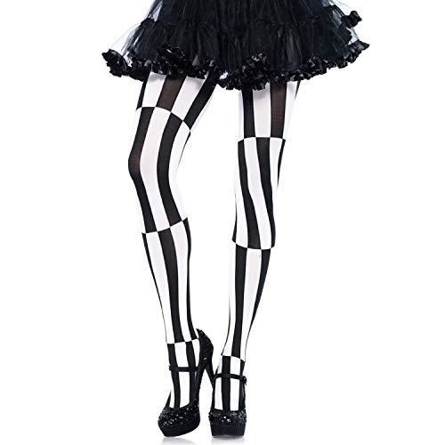 Leg Avenue 7904 - Blickdichte gestreifte Strumpfhose mit Optische Täuschung schwarz/weiß Kostüm Damen Karneval, Einheitsgröße (EUR 36-40)