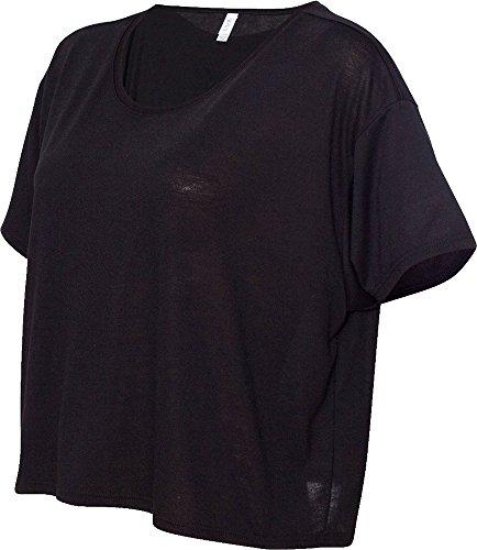Bella Damen Wide Boxy Neck kurze Ärmel, bauchfrei, Körperlänge Relaxe Fit Shirts Schwarz - Schwarz