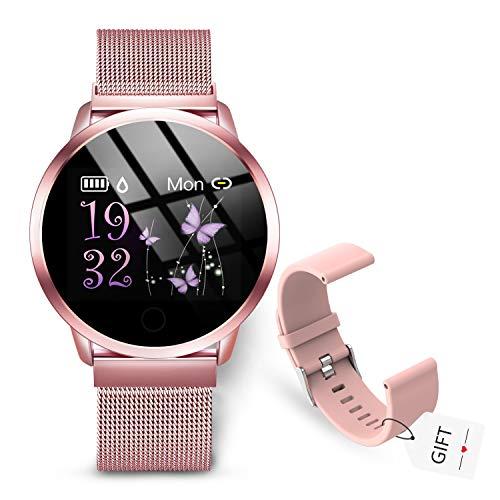 Oferta de GOKOO Smartwatch Mujer Rosa Reloj Inteligente Fitness Tracker Correa de acero Mujer Pulsómetros Monitor de Sueño Reloj Deportivo Compatible con Android IOS.