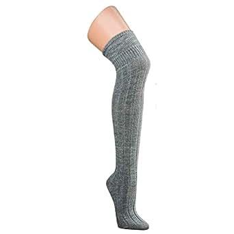 2 Paar Damen Overknees Überknie Kniestrümpfe Mädchen Hold-up-Strümpfe Retro Trend Modern Schüler Knitting Sportsocken (35-38, Grau)
