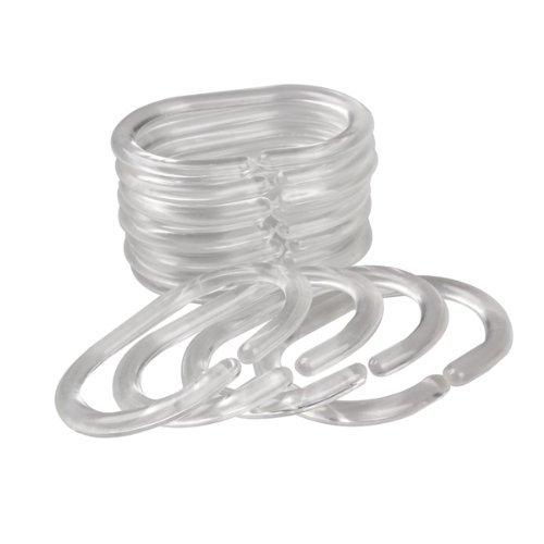 dealglad® 24Flexible Kunststoff klar C Typ Badezimmer Dusche Vorhang Liner Haken Ringe - Vorhang Dusche Liner Klar