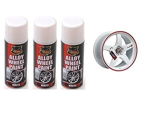 3 x Satin Alloy Wheel Spray Can Restorer Car Bike Auto Paint White 200ml