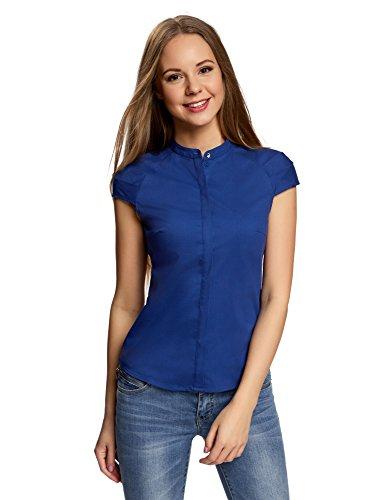 Oodji ultra donna camicia in cotone con maniche corte, blu, it 40 / eu 36 / xs