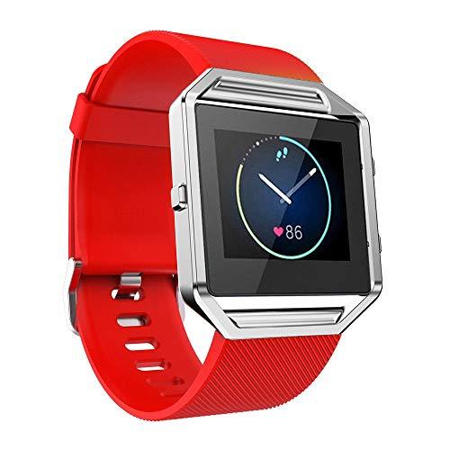 WAOTIER für Fitbit Blaze Armband Silikon Armband mit Metall Verschluss Atmungsaktive Ersatzband für Fitbit Blaze Smart Watch Armband mit Twill Muster Wasserdichter Armband für Frauen Männer (Rot) -