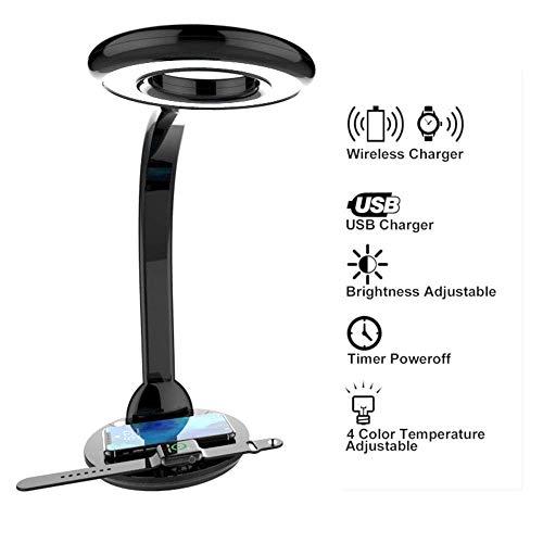 Lámpara de mesa de carga inalámbrica LED Lámpara de cabecera americana, 10W...