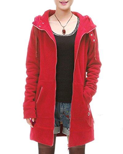 Femme Loose Chaude Couleur Unie Zipper Sweat À Capuche Cardigan Veste Manteau Rouge