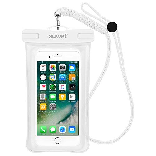 Wasserdichte Hülle, Auwet Fingerabdruck Touch ID Erkennungssystem Wasserdichte Tasche Schwimmende Design Beutel Handyhülle für iPhone 7/6s/plus/5/5s, Samsung Galaxy S6/ S5/S7, Note 4/3 für Bootfahren/ Schwimmen/Tauchen/Angeln (Weiß) (Blu Pure Xl Handy)