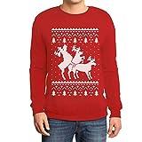 Rehntier Dreier - Lustiger Herren Weihnachtspullover Sweatshirt XX-Large Rot