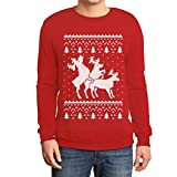 Shirtgeil Christmas Ugly Sweater Renne Natale Threesome Sex Felpa/Maglione da Uomo Medium Rosso