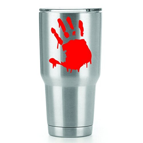 Bloody Handprint Vinyl Decals Stickers (2 Pack!!!) | Yeti Tumbler Cup Ozark Trail RTIC Orca | Decals Only! Cup not Included! | 2-3 X 2.2 inch Red Decals | KCD1133 -