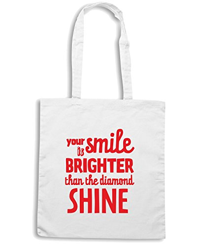 T-Shirtshock - Borsa Shopping CIT0216 Your Smile is Brighter Than The Diamond Shine Bianco
