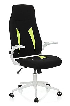hjh OFFICE Silla Gaming/Silla de Oficina GLORIUS Tejido Negro/Verde