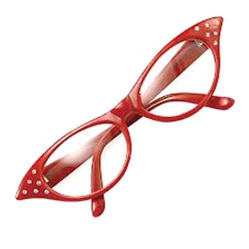 Donne Ragazze Anni 50 Rock And Roll Retro Grease Barboncino Sciarpa  Occhiali Costume - Rosso Occhiali d80fe4ac67f