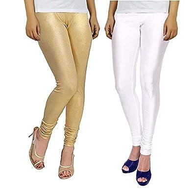 Bhetvastu Leggings For Women White and Golden Combo Shining Lycra (Size XL) Shiny Leggings