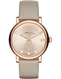 amazon co uk marc jacobs watches marc jacobs women s quartz watch rose gold dial analogue display and rose gold leather bangle mbm1400
