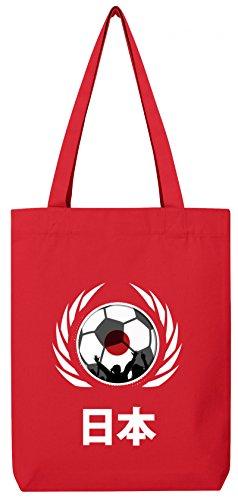 Wappen World Cup Fussball WM Bio Baumwoll Tote Bag Jutebeutel Stanley Stella Fußball Japan Red