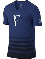 Nike Roger Federer SS Vneck Tee - Camiseta manga corta  para hombre, color azul, talla M