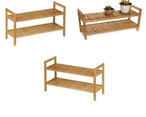2 Tier Shoe Rack Shelf Stand Natural Walnut Finish Solid Wood Storage Organiser