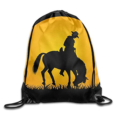 Cowboy Silhouette Drawstring Backpack Travel Bag Gym Outdoor Sports Portable Drawstring Beam Port Backpack for Girl Boys Woman Female