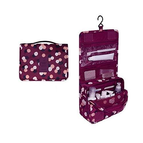 Drawihi Damen Multifunktional Kosmetiktasche Große Kapazität Reisetasche Make-Up Taschen für Outdoor Reise (Weinrot) 24 * 18.5 * 9.5 cm
