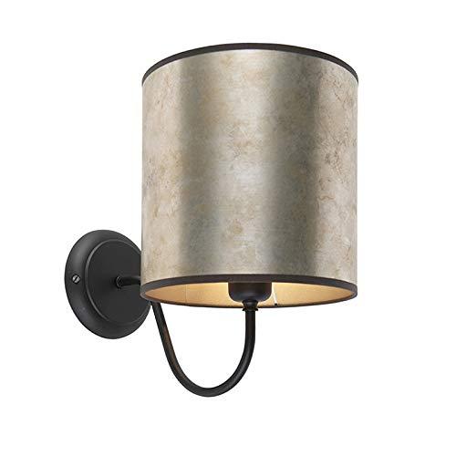 QAZQA Classique/Antique Applique murale classique noire avec abat-jour zinc et taupe 20/20/20 Métal/Tissu Argenté,Noir,Taupe Rond E27 Max. 1 x 40 Watt/Luminaire/Lumiere/Éclairage/intérieur /