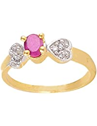 SKN Silver And Golden American Diamond Solitaire Party Alloy Ring For Women & Girls (SKN-1426)
