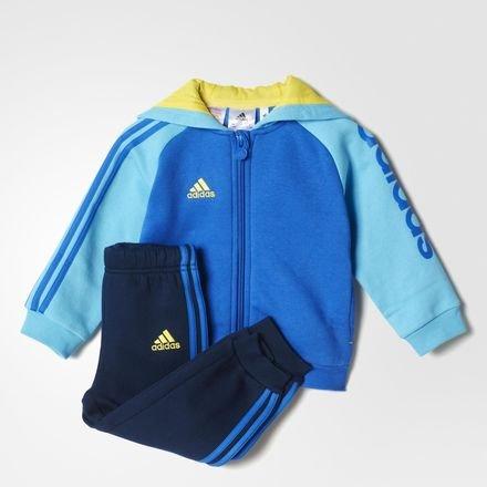 adidas Baby Jogginganzug mit Kapuze, Blau/Gelb, 62, AB6952