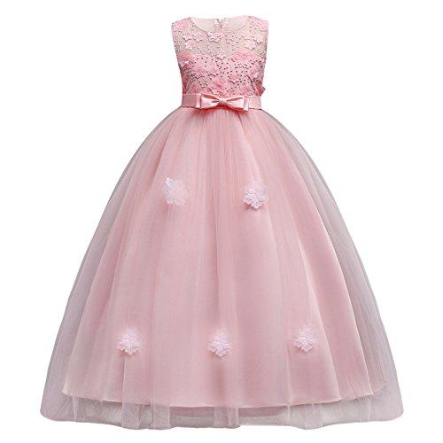 9bc2d015be2cd Vestito Principessa per Ragazza Elegante Floreale Fiore Pizzo Abiti da Sera  Matr