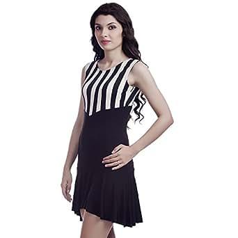 f9a471b1ba7 Five Stones Women's White & Black Viscose Lycra High Low Frill Dress ...