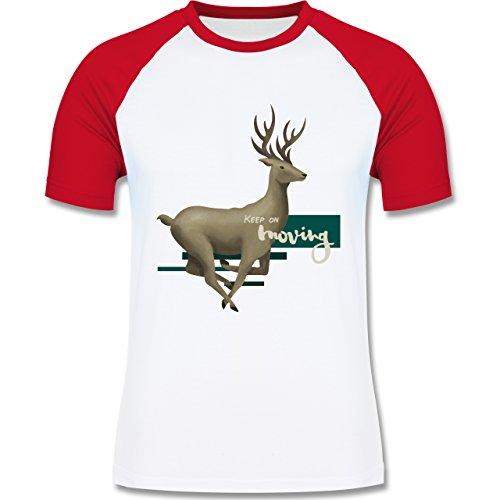 Wildnis - Keep on moving - zweifarbiges Baseballshirt für Männer Weiß/Rot