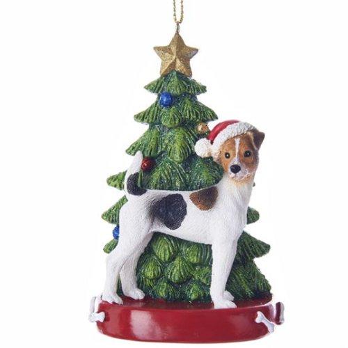 Kurt Adler Jack Russell Terrier Wearing Santa Hat with Christmas Tree Ornament C7615JR New
