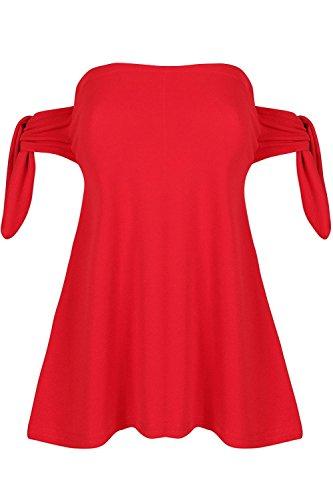 Be Jealous Womens Krawatten-Kappen-Hülse Plain Swing Flared aus der Schulter Bardot Damen Top Rot