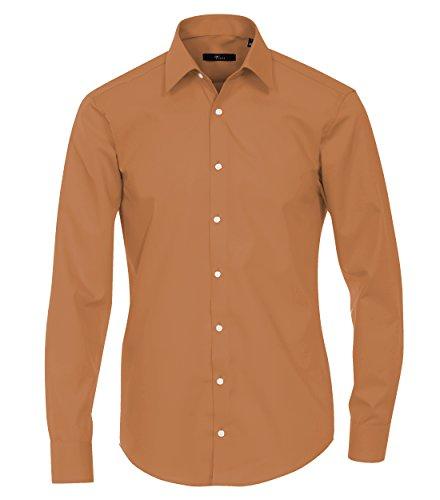 Venti - Slim Fit - Bügelfreies Herren Langarm Hemd in verschiedenen Farben (001480 A) Gelb (503)