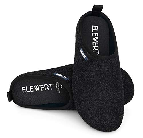 ELEWERT® – Schwarze Unisex Filz-Hausschuhe für drinnen und draußen; mit extra Dicker Gummisohle und herausnehmbarem Fußbett aus recyceltem Material - Natural-W1 – EU-Design, Made In Spain. Größe 45