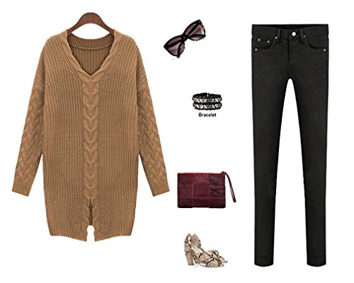 Honghu Femme Casual Loose Manches Longues Collier V Lang Pulls Basic Loisirs Sweater Marron