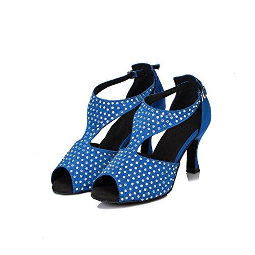 Minitoo femme en Satin pour mariage Cristaux en forme de chaussons de danse Chaussures modernes Bleu - bleu