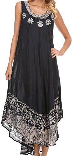 Gesticktes Langes Kleid (Sakkas 15009 - Alexis gesticktes langes ärmelloses BlumenCaftan Kleid / Cover Up - Marine - OS)
