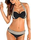 YaoDgFa Sexy Strand Damen Bikini Set Push Up Bademode Badeanzüge Bikinis für Frauen Mädchen Bandeau Zweiteilig Neckholder
