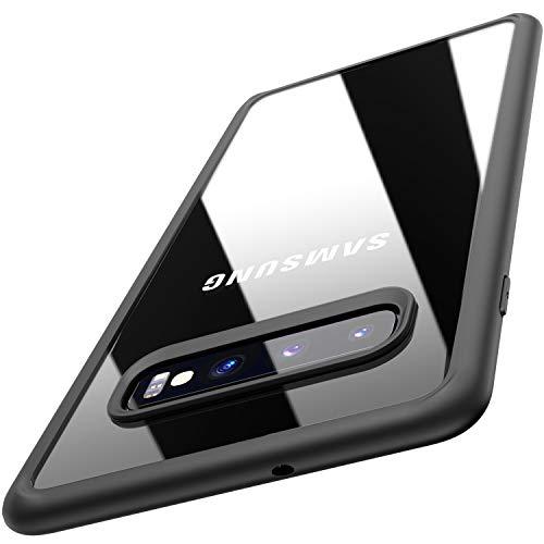 TOZO Cover per Samsung Galaxy S10 Plus, 6,4 inch (2019) PC + TPU Ibrido Ultra-Sottile [Perfetta Vestizione] Protezione Dura Protettiva Ammortizzatore Back-Trasparente Paraurti [Bordo Nero]