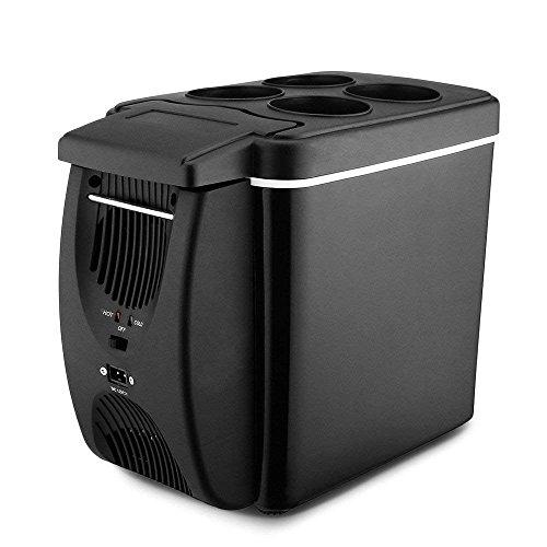 Nevera Portatil Coche Refrigerador Del Coche Enfriador Del Coche Warmer 12V 6L Capacidad Mini-Nevera Viajar Acampar Al Aire Libre,Black