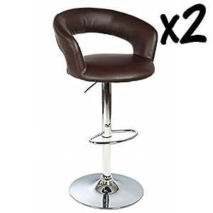Lot de 2 Tabourets de bar fauteuil Swann, structure en acier chromé,Assise Polyuréthane en polyuréthane, coloris Chocolat, L58 x P56 x H86 à 107 cm -PEGANE-