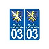 03 Marcillat-en-Combraille blason ville autocollant plaque stickers - Angles :...