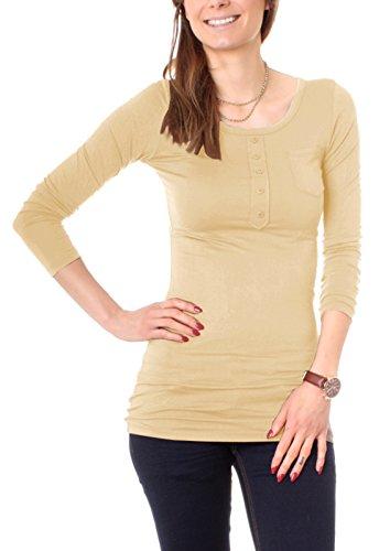 T-Shirt Long avec boutonnière manches longues uni T-Shirt de nuit pour femme Beige - Beige