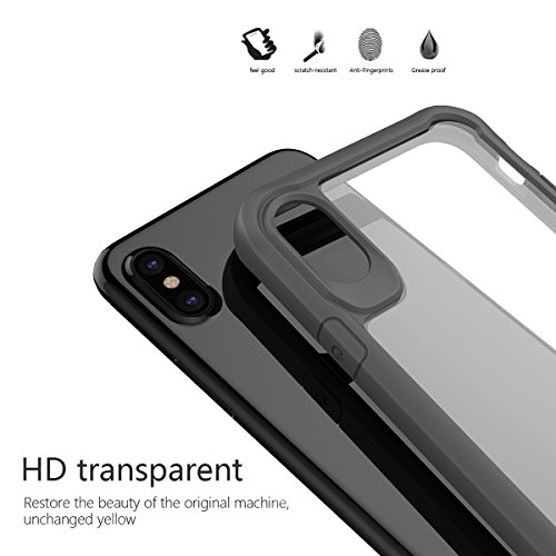 iPhone X Custodia, MOONMINI Transparent Cellphone Case Cover for iPhone X Ultra Slim Soft TPU Bumper Hard PC Shockproof Anti-Scratch Full Body Protective Skin Shell Grey