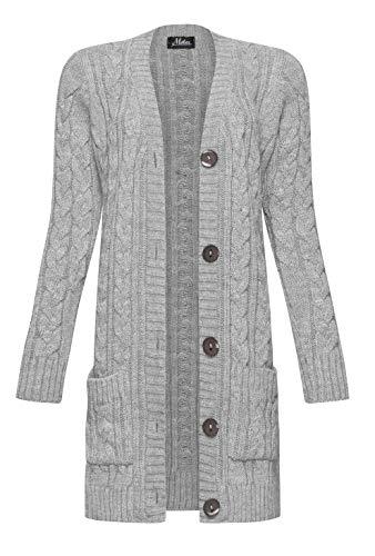 Mikos* Damen Cardigan Lang Elegant Strickjacke Wolle Langarm Strickmantel Mantel Frühling/Winter/Herbst (535) (Grau, M) (535 Legging Frauen)
